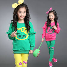 2017 Fashion Junior Girl Clothing Sets Candy Color Tracksuit Cartoon Girls Clothes Set For In From Mother Kids On