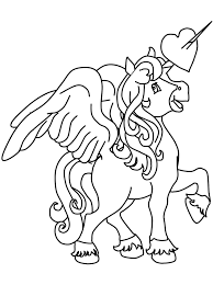 Cute Unicorn With Wings Coloring Pages