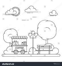 City Skyline Bench Coffee Truck Central Stock Vector (Royalty Free ...