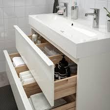 godmorgon bråviken waschbeckenschrank 2 schubl hochglanz weiß brogrund mischbatterie 100x48x68 cm