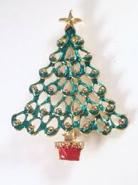 Vintage Christmas Tree Brooch Bright Green Enamel