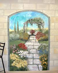 Wall Mural Decals Beach by Garden Mural On A Cement Block Wall Colorful Flower Garden Mural