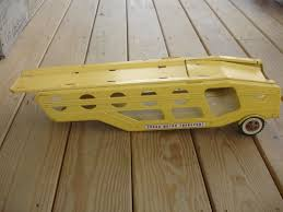 OLD VTG PRESSED Steel TONKA Truck Car Transporter Carrier Trailer ...