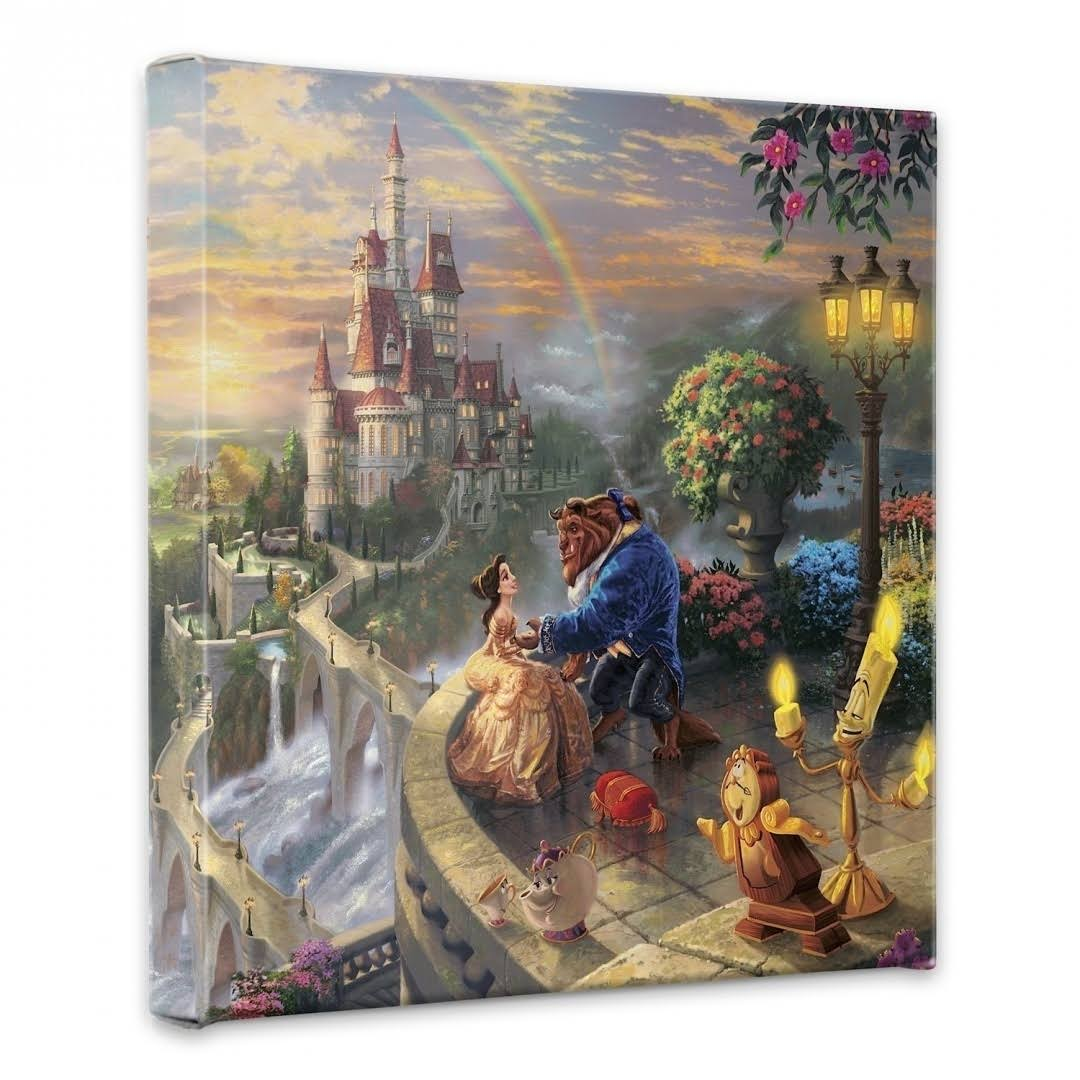 Thomas Kinkade Beauty and The Beast Falling in Love - 14 inch x 14 inch Gallery Wrapped Canvas, White