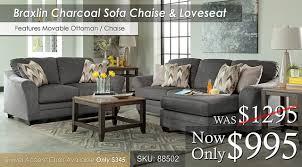 Levon Charcoal Sofa And Loveseat by Living Room Sets U2013 All American Mattress U0026 Furniture