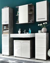 details zu badmöbel set badezimmer weiß hochglanz grau beton design bad möbelset 5 tlg nano