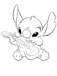 Stitch Playing Guitar In Lilo 038 Coloring Page By 14 Years Old Alexa