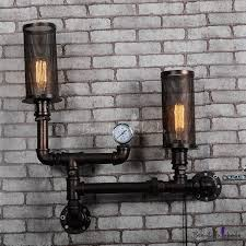 industrial pipe style led wall sconce with two lights