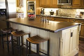 Kitchen Decoration Dark Wood Countertops With White Island Base