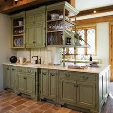 Distressed Kitchen Cabinets On Sage Green Design