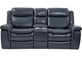 Milano Blue Leather Power Plus Reclining Console Loveseat