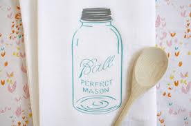 Tea Towel Blue Vintage Mason Jar Flour Applewhite