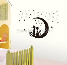 New Black Naughty Couple Cats Moon Stars Home Decor Wall Sticker Paper Stickers For Living Room
