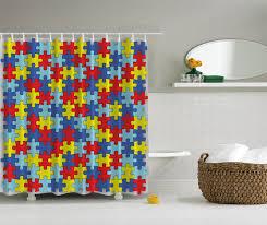Chevron Print Bathroom Decor by Autism Awareness Puzzle Pieces Daycare Kindergarden Kids Unisex