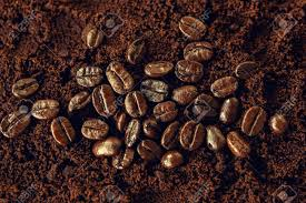 Coffee Mocha Hot And Beans On Wooden Table Brown Background Stock Photo