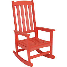 Sunnydaze Outdoor Patio Rocking Chair, All-Weather Faux Wood Design, Salmon