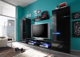 details zu wohnwand wohnzimmer anbauwand media schwarz glas mit beleuchtung