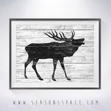 Deer 2 Art Illustration Painting Nautical Wall ArtRusti