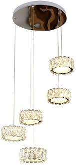 led pendelleuchte kristall modern 5 flammig runde design