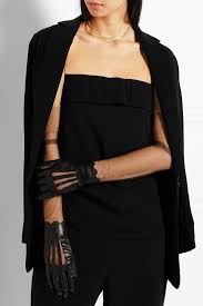 maison margiela leather and stretch mesh gloves in black lyst