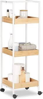 relaxdays weiß braun badregal mobil 3 ablagen laufrollen allzweckregal hxbxt ca 89 x 30 x 30 cm holz und metall standard