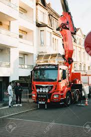 100 Boom Truck STRASBOURG FRANCE DEC 1 2016 In Operation With