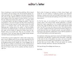 Letter From The Editor Magazine First Issue