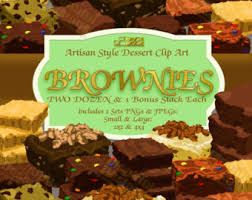 Brownie Clip Art Bake Sale Clip Art Chocolate and Blon 2 Dozen pieces