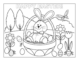 Easter Bunny Coloring Pages Basket