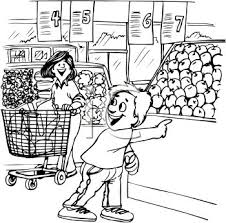 Black and White Cartoon of a Boy at the Supermarket with His Mom