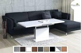details zu couchtisch tisch aston weiß hochglanz höhenverstellbar ausziehbar 120 bis 200cm