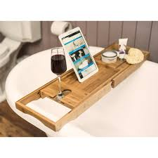 bamboo wooden over bath tray caddy rack shelf tablet phone