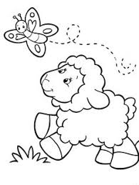 Baby Sheep Chasing Butterfly Coloring Pages