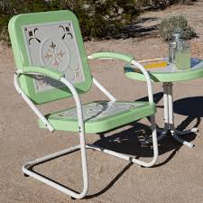 Furniture Retro Metal Patio Chairs With A Table Colored Green And
