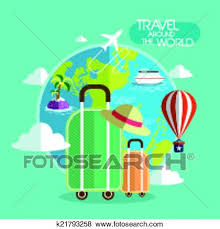 Clip Art Of Flat Design For Travel Around The World Concept