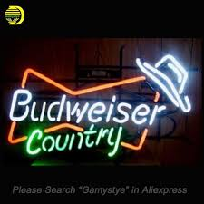 neon sign budweiser country hat handmade neon bulb sign