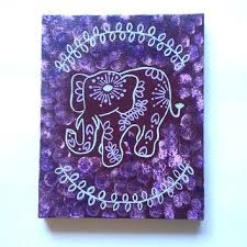 Hippie Bohemian Elephant Fashionable Acrylic Canvas Painting For Trendy Girls Room Dorm Or Home Decor