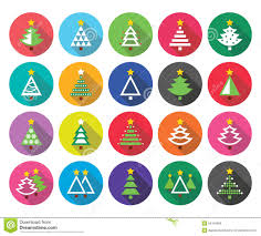 Christmas Tree Types by Christmas Tree Icon Set In Flat Design Style Vector Illustration
