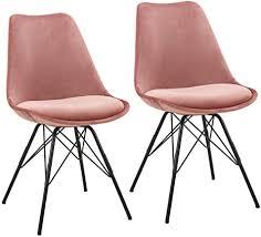 duhome 2er set esszimmerstuhl küchenstuhl metallbeine sitzkissen retro farbauswahl 518mj farbe pink material samt