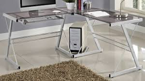 Walker Edison 3 Piece Contemporary Desk by We Furniture Glass Metal Corner Computer Desk Youtube