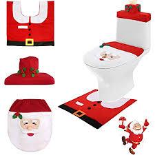 gsyamh weihnachten toilettensitzbezug zuhause weihnachtsdeko wc sitz cover deckel dekoration toilettenvorleger set mit sitzbezug teppich gewebe