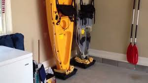 Kayak Hoist Ceiling Rack by Diy Easy Kayak Upright Garage Storage Youtube