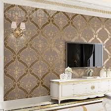 Aliexpresscom Buy European Retro Damascus Living Room TV Background Wallpaper Embossed Thickened Brown Non Woven Bedroom Film And TV Wall Paper