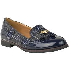 womens ladies flat tassel loafers brogues shoes tartan check