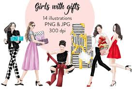 Girls With Gifts Fashion Clipart Example Image