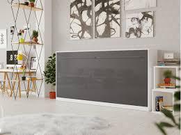 smartbett schrankbett standard 90x200 horizontal weiss anthrazit hochglanzfront mit gasdruckfedern