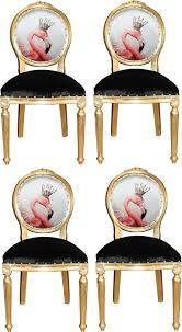 casa padrino luxus barock esszimmer set flamingo mit krone gold schwarz mehrfarbig 48 x 50 x h 98 cm 4 handgefertigte esszimmerstühle mit bling