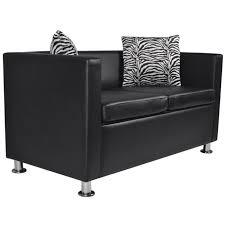 canap 2 places cuir noir canapes canape 2 places en cuir artificiel noir achat vente