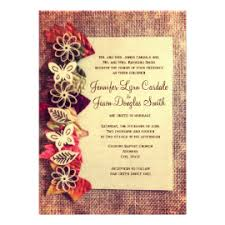 Rustic Burlap And Leaves Fall Wedding Invitations