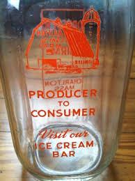 vintage quart milk bottle dresser hill farm charlton mass orange